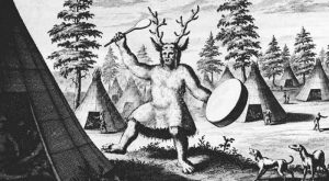 The earliest known depiction of a Siberian shaman, produced by the Dutch explorer Nicolaes Witsen. Image: Wikimedia Commons PUblic Domain