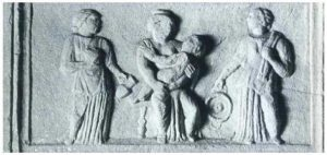 Relief of the Celtic Matres from Ptuj/Poetovio (LIMC, vol. 6.2, p. 620, n°4) (see: https://balkancelts.wordpress.com/2014/02/01/cult-of-the-nutrices-nursing-mothers/ )
